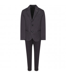 Blue boy suit with metallic logo