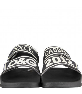 DOLCE & GABBANA KIDS Black kids sandals with white logo