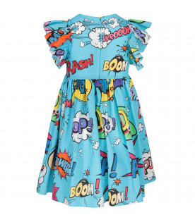 DOLCE & GABBANA KIDS Light blue girl dress with colorful hero