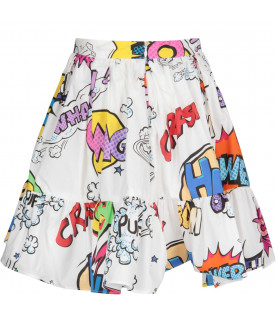 DOLCE & GABBANA KIDS White girl skirt with colorful heros