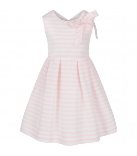 LITTLE BEAR White and pink girl dress with bow