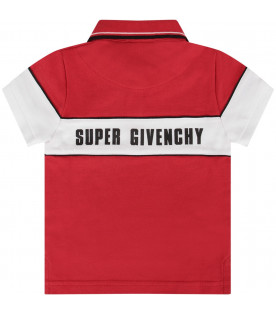 GIVENCHY KIDS Red babyboy polo shirt with black logo