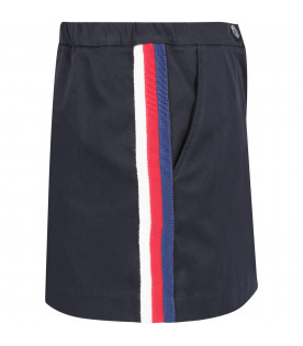 GUCCI KIDS Blue girl skirt with side stripes