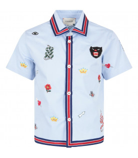 d17837946 GUCCI KIDS Light blue kids embroideried shirt ...
