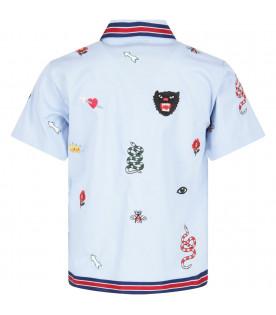 GUCCI KIDS Light blue kids embroideried shirt