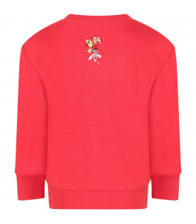 GUCCI KIDS Red kids sweatshirt with Tigers