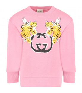 GUCCI KIDS Pink girl sweatshirt with Tigers