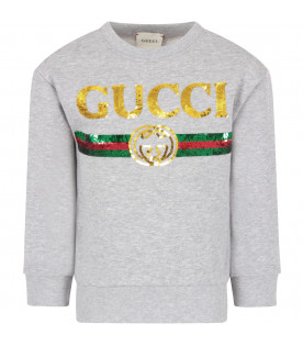 GUCCI KIDS Melanged grey girl sweatshirt with sequined logo