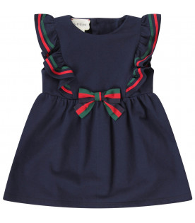 GUCCI KIDS Blue baby girl dress with Web