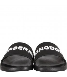 BURBERRY KIDS Black kids sandals with white logo