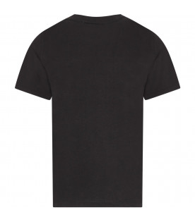 BURBERRY KIDS Black kids T-shirt with white logo