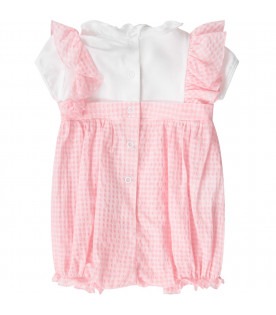 BLUMARINE BABY White and pink babygirl romper with logo