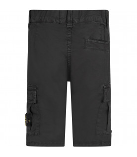 STONE ISLAND JUNIOR Black boy pants with iconic compass