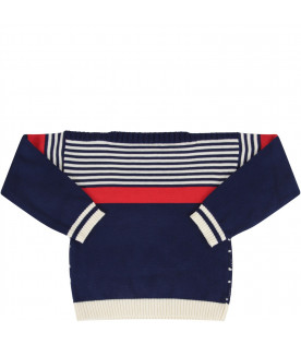 GUCCI KIDS Royal blue baby boy sweater with GG