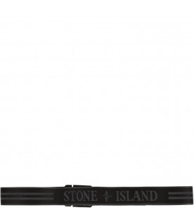 STONE ISLAND JUNIOR Black belt with logo