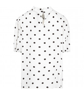 VIVETTA KIDS White ''Aladdin'' girl shirt with black polka-dots