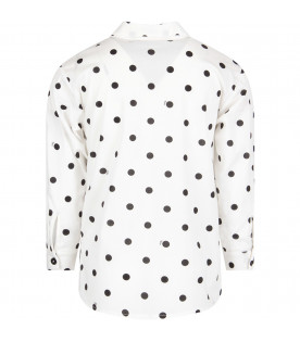 VIVETTA KIDS White ''Ariel'' girl shirt with black polka-dots