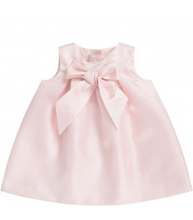 LITTLE BEAR Pink babygirl dress with bow