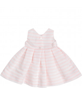 White and pink babygirl dress with bow