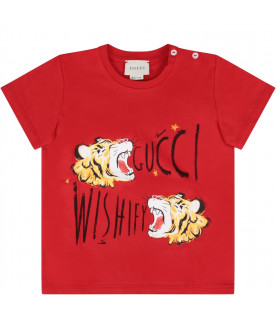 b6446184 GUCCI KIDS Red babyboy T-shirt with black logo ...