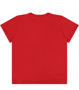 GUCCI KIDS Red babyboy T-shirt with black logo