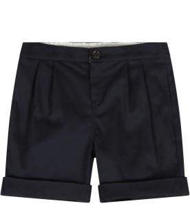 GUCCI KIDS Blue babyboy short with orange logo