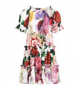 DOLCE & GABBANA KIDS White girl dress with colorful flowers