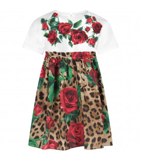 DOLCE & GABBANA KIDS Multicolor girl dress with red roses