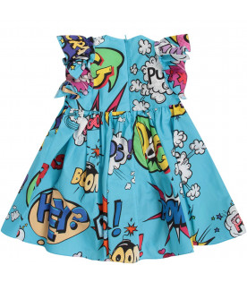 DOLCE & GABBANA KIDS Light blue babygirl dress with colorful heros