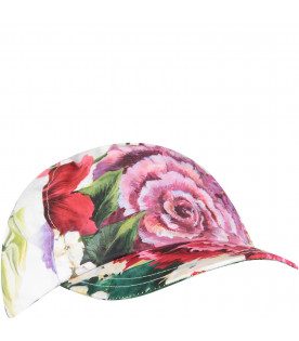 DOLCE & GABBANA KIDS White girl hat with colorful flowers