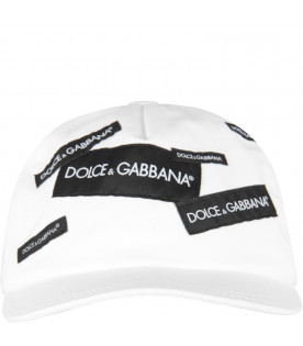 DOLCE & GABBANA KIDS White kids hat with logo