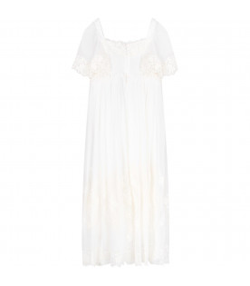 DOLCE & GABBANA KIDS White girl dress with embriodered flowers