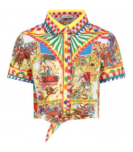 DOLCE & GABBANA KIDS Multicolor girl shirt with colorful prints
