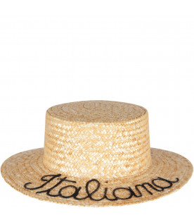 Straw girl hat with writing