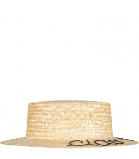 LEONTINE VINTAGE Straw girl hat with writing