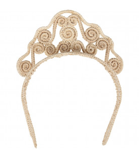 Straw yellow tiara for girl