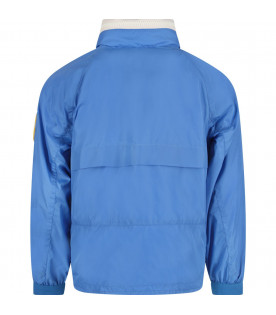 MONCLER KIDS Light blue boy windbreaker with yellow logo