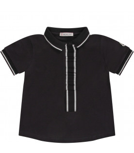 MONCLER KIDS Blue kids polo shirt with iconic logo