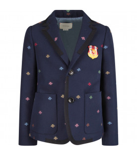 2f630bbff002 GUCCI KIDS Blue boy jacket with colorful bees ...