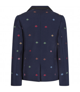 GUCCI KIDS Blue boy jacket with colorful bees