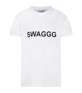 White boy T-shirt with black writing