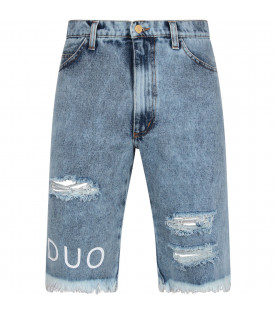 Light blue boy short with white logo