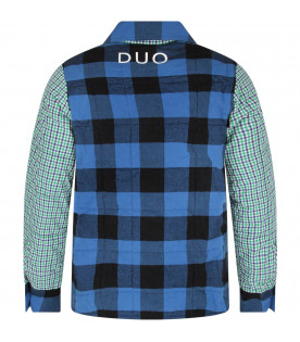 Multicolor boy checked shirt with white logo