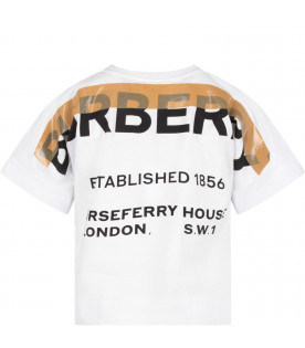 BURBERRY KIDS White kids T-shirt with black logo