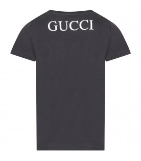 GUCCI KIDS Blue kids T-shirt with iconic tiger
