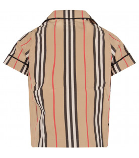 BURBERRY KIDS Beige boy shirt with red, white and black stripes