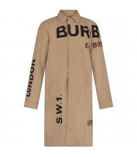 BURBERRY KIDS Beige kids trench with black logo and writing
