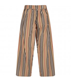 BURBERRY KIDS Beige girl pants with red, white and black stripes