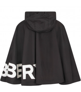 BURBERRY KIDS Black girl cape with white logo