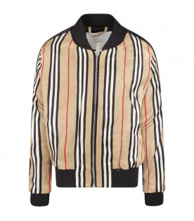 BURBERRY KIDS Beige girl bomber jacket with stripes